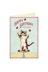 Cavallini Papers & Co.  Happy Birthday Juggling Cat  Brittany Notecard