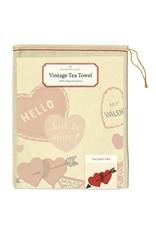 Cavallini Papers & Co. Valentine Hearts Tea Towel