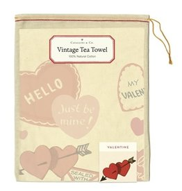 Cavallini Papers & Co. Valentine Hearts Tea Towel