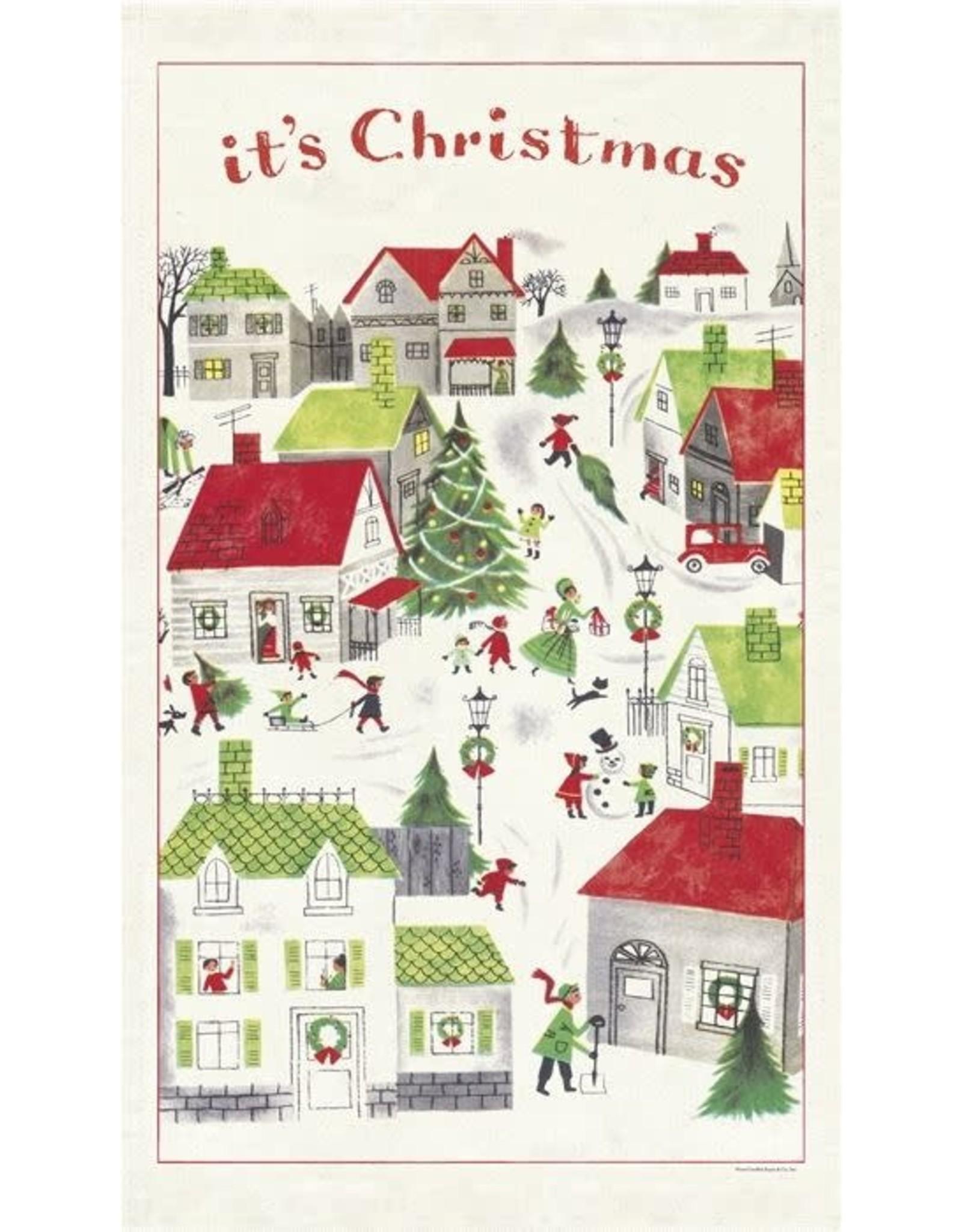 Cavallini Papers & Co. Christmas Village Tea Towel