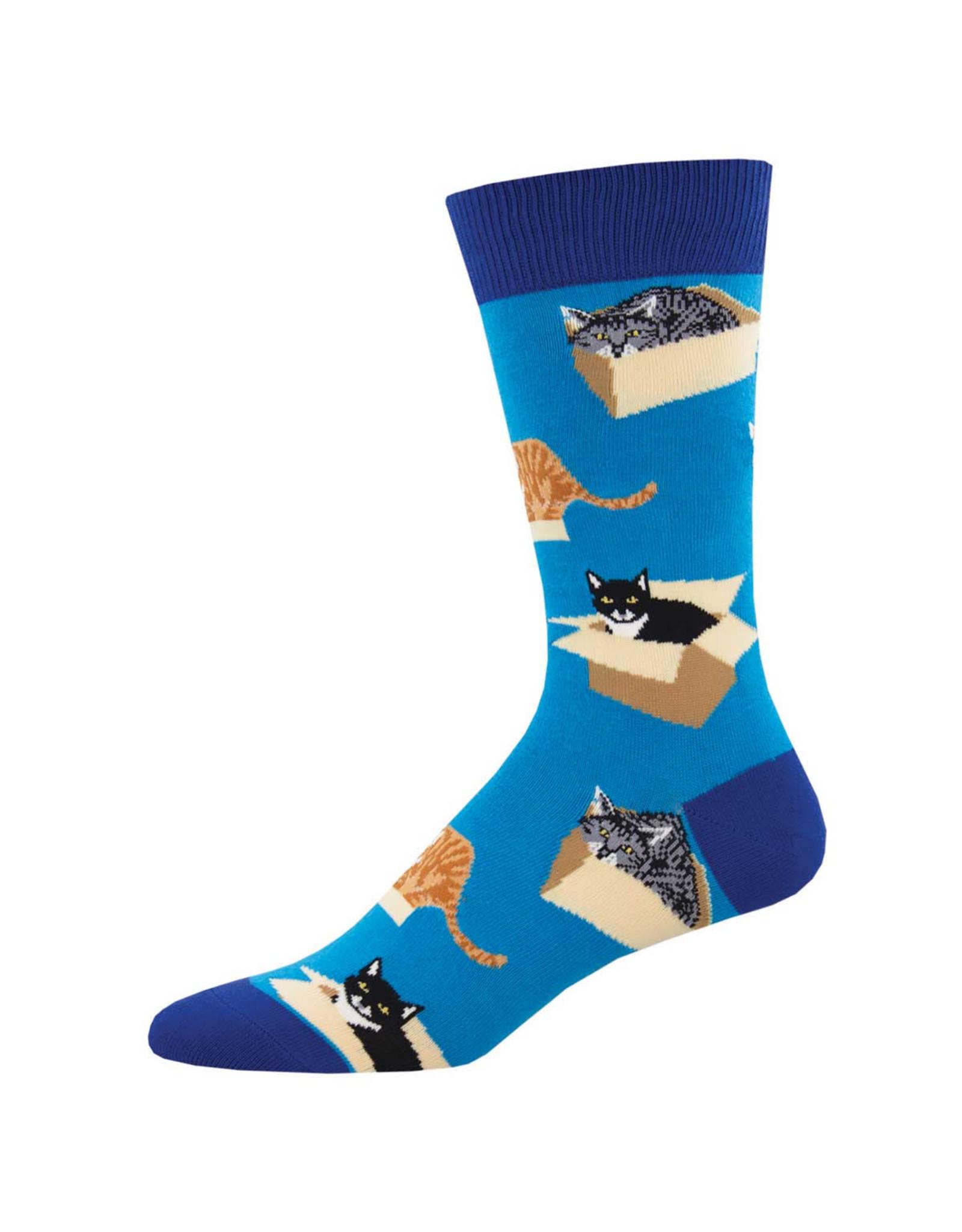 Socksmith Design Cat in a Box Blue 10-13 Men's Crew Socks MNC2256-BLU