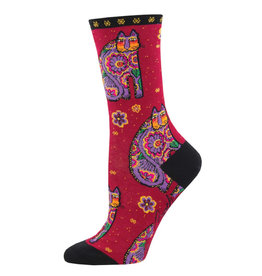 Socksmith Design Thanks Cat Red 9-11 Women's Crew Socks