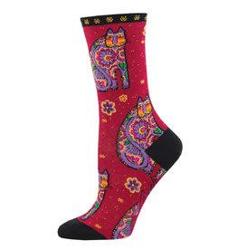Socksmith Design Thanks Cat Red Women's Crew Socks