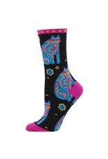 Socksmith Design Thanks Cat Black 9-11 Women's Crew Socks
