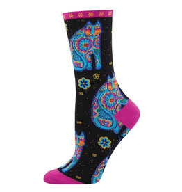 Socksmith Design Thanks Cat Black 9-11 Women's Crew Socks