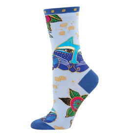 Socksmith Design Carlotta Cat Blue 9-11 Women's Crew Socks