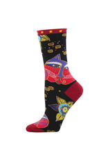 Socksmith Design Carlotta Cat Black 9-11 Women's Crew Socks
