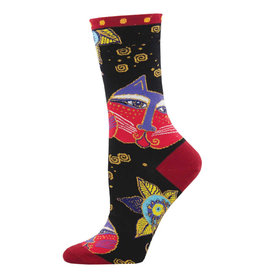 Socksmith Design Carlotta Cat Black 9-11 Women's Crew Socks