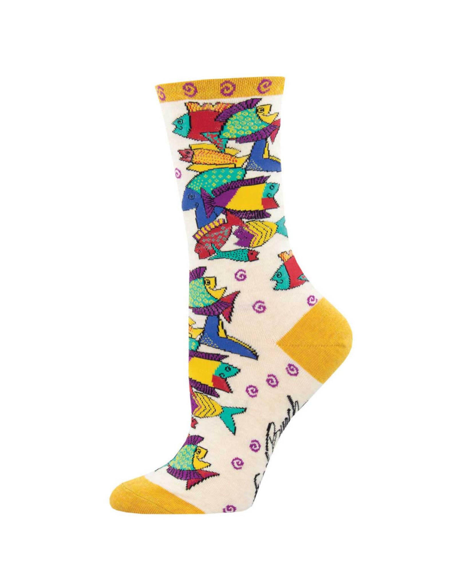 Socksmith Design Pescadero Ivory Heather 9-11 Women's Crew Socks