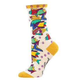 Socksmith Design Pescadero Ivory Heather 9-11 Women's Crew Socks