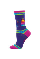 Socksmith Design Rainbow Cat Purple 9-11 Women's Crew Socks