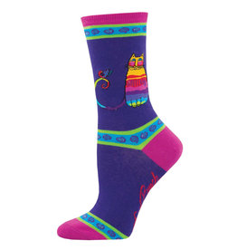 Socksmith Design Rainbow Cat Purple 9-11 Women's Crew Socks