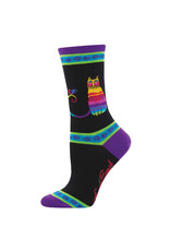 Socksmith Design Rainbow Cat Black 9-11 Women's Crew Socks