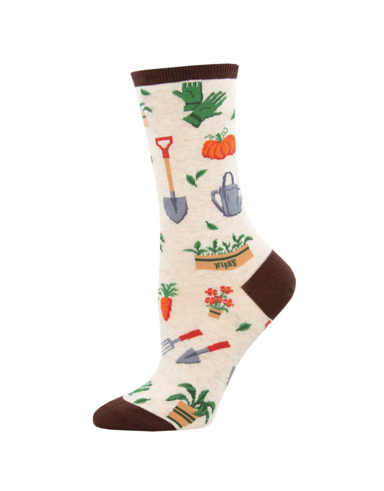 Socksmith Design Hoe Down Ivory Heather 9-11 Women's Crew Socks