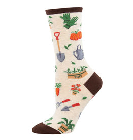 Socksmith Design Hoe Down Ivory Heather 9-11 Women's Crew Socks