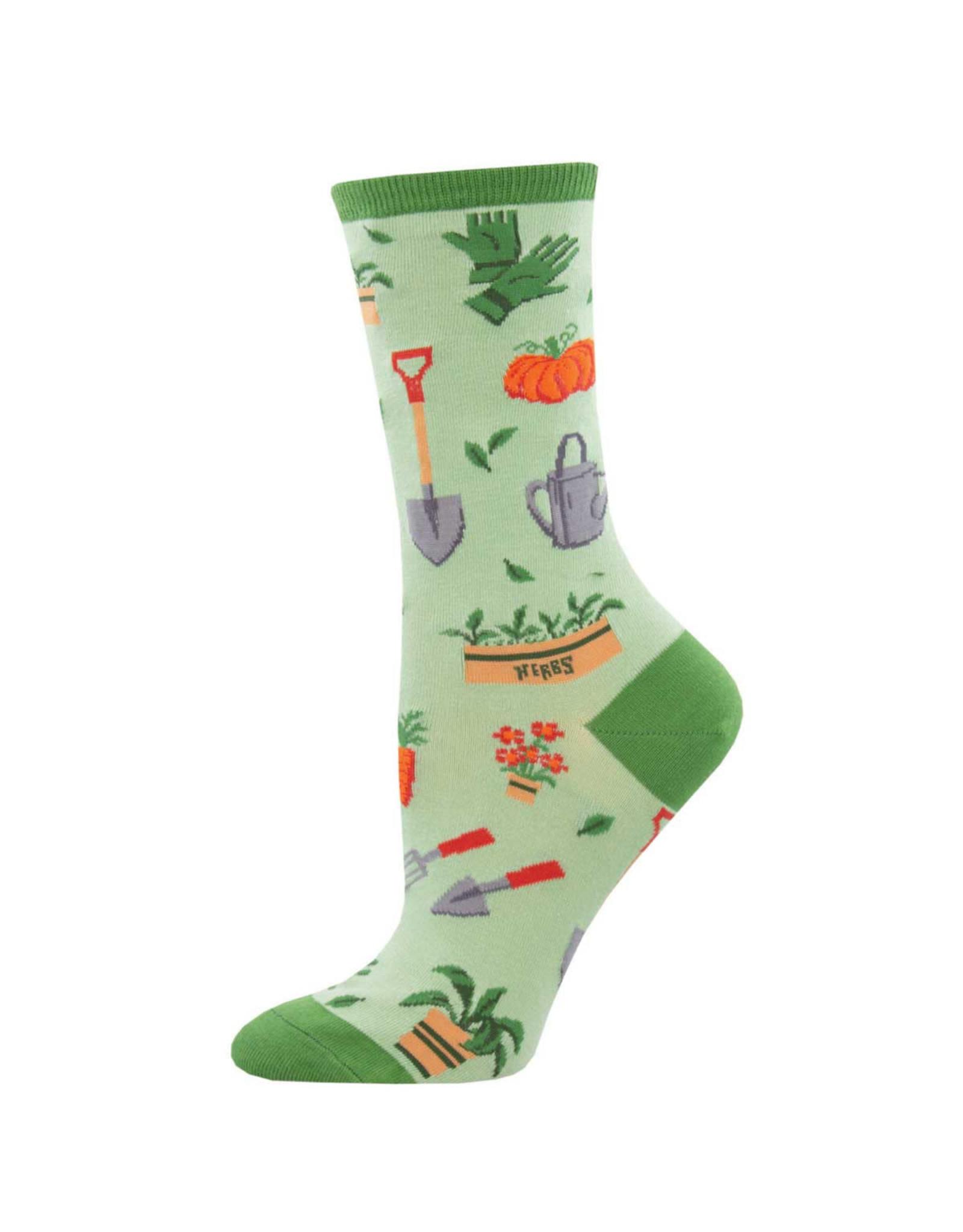 Socksmith Design Hoe Down Green 9-11 Women's Crew Socks