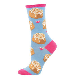 Socksmith Design Lovely Buns Blue 9-11 Women's Crew Socks
