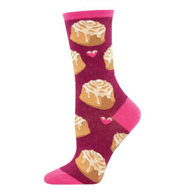 Socksmith Design Lovely Buns Berry Heather 9-11 Women's Crew Socks