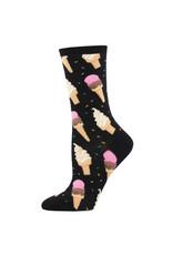 Socksmith Design I Scream Women's Black Crew Socks