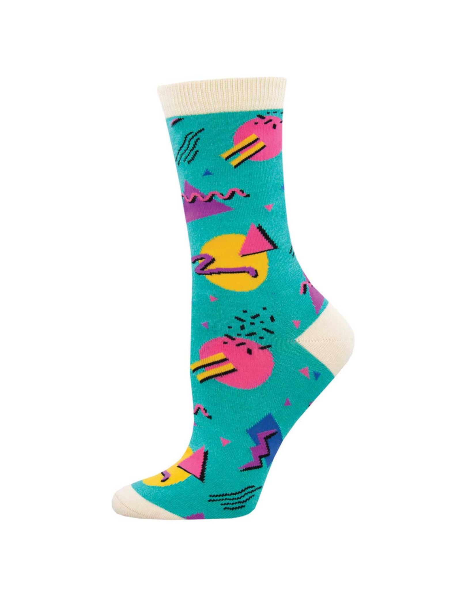 Socksmith Design 90's Vibes Teal Women's Bamboo Crew Socks