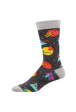 Socksmith Design 90's Vibes Charcoal Heather Men's Bamboo Crew Socks