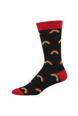Socksmith Design On the Bright Side Men's Black Bamboo Crew Socks