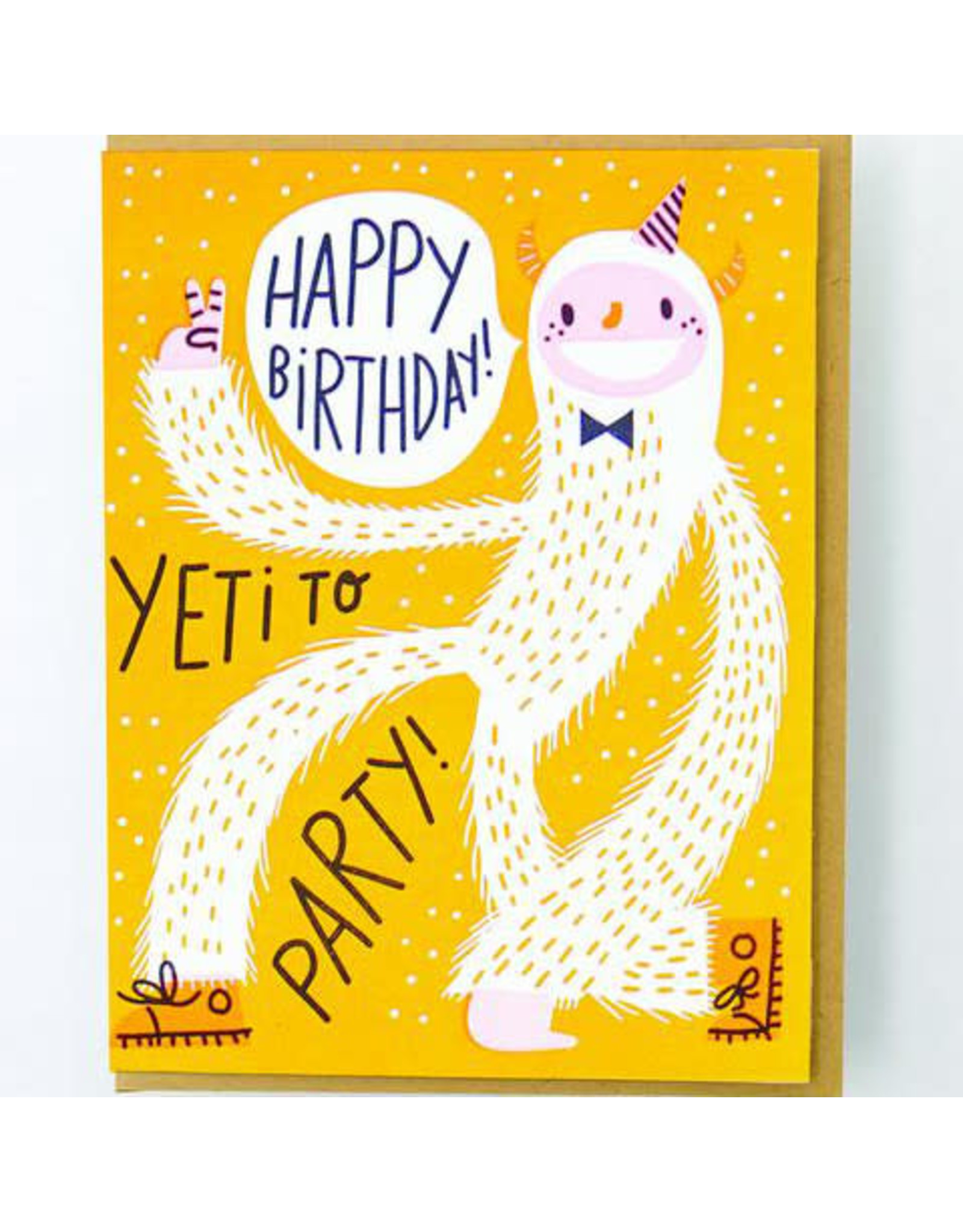 Hello!Lucky Yeti to Party Birthday A2 Notecard