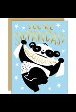 Hello!Lucky Stupandas Congrats A2 Notecard