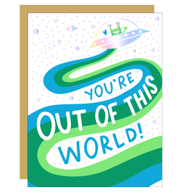 Hello!Lucky You're Out of This World love A2 Notecard