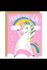 Hello!Lucky Magical Unicorn Congrats A2 Notecard
