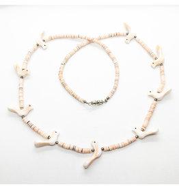 White & Pink Heishi Shell Bird Fetish Necklace
