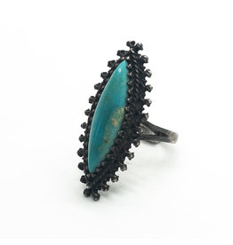 Southwest-Style Turquoise Marquise Sterling Ring