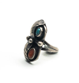 Navajo Turquoise & Coral Leaf & Ball Ring