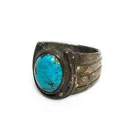 Vintage Brass Lucky Horseshoe Ring with Medium Turquoise Cabochon