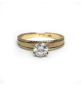 Vintage ½-Carat Diamond in 14K Etched Gold Ring