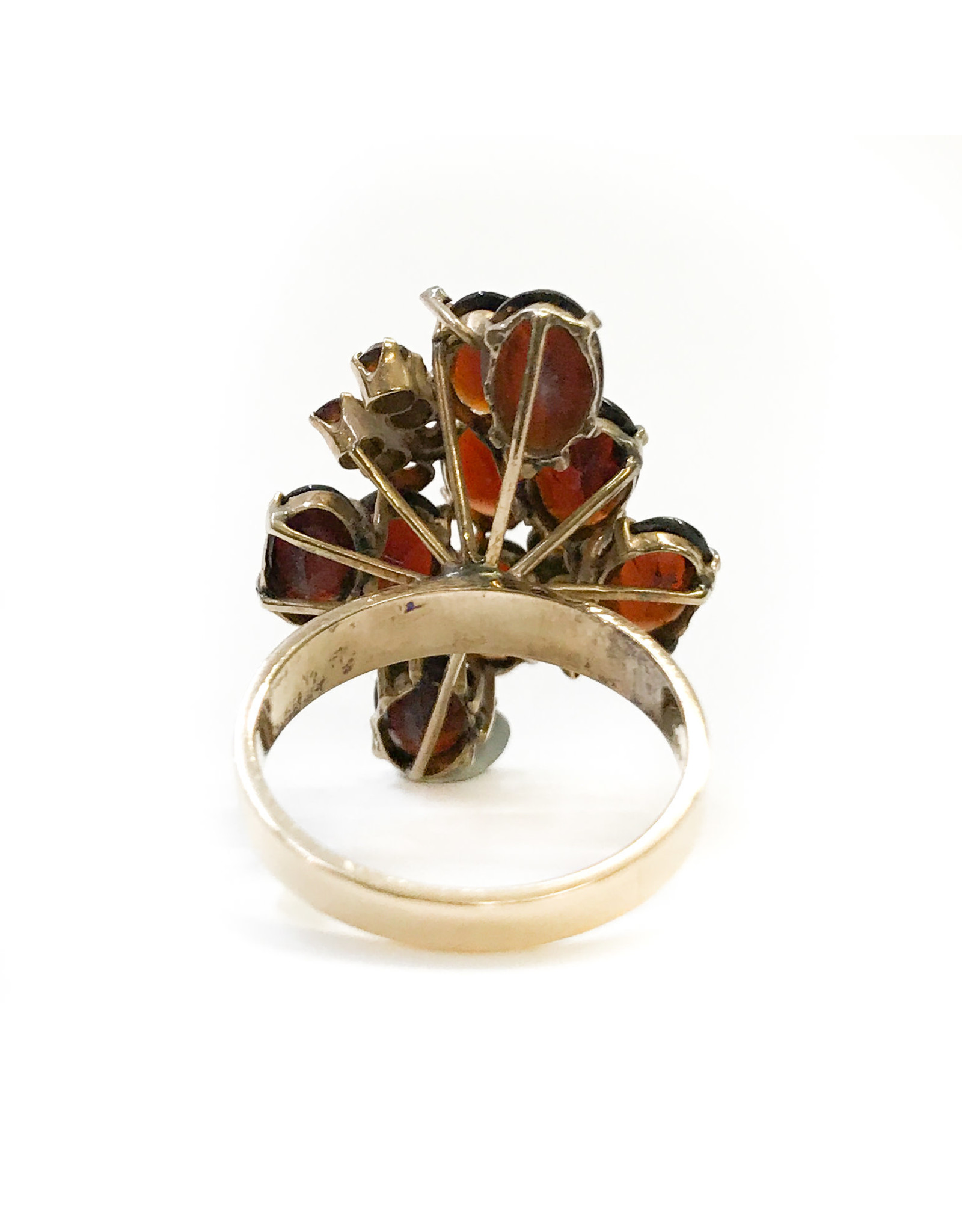 18K Gold Ring with 21 Garnets