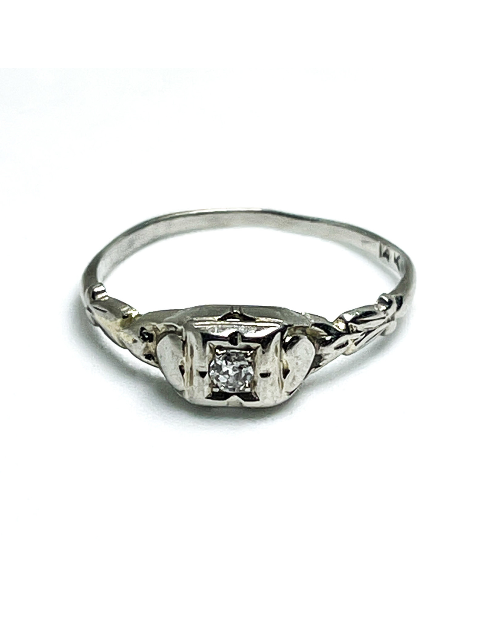 Antique 14K White Gold Engagement Ring with Small Diamond