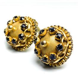 Hobe et Cie. Round Gold-Color Hobé Chain Clip Earrings Studded with Garnet-Color Rhinestone