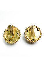 Hobe et Cie. Round Gold-Color Hobé Chain Clip Earrings Studded with Garnet-Color Rhinestones