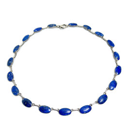 980 Silver Necklace with 19 Lapis Ovals