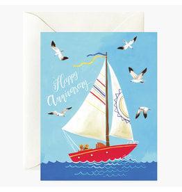 Oana Befort Happy Anniversary Boat A2 Greeting Card