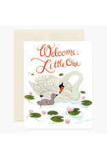 Oana Befort Welcome Little One Swans A2 Greeting Card