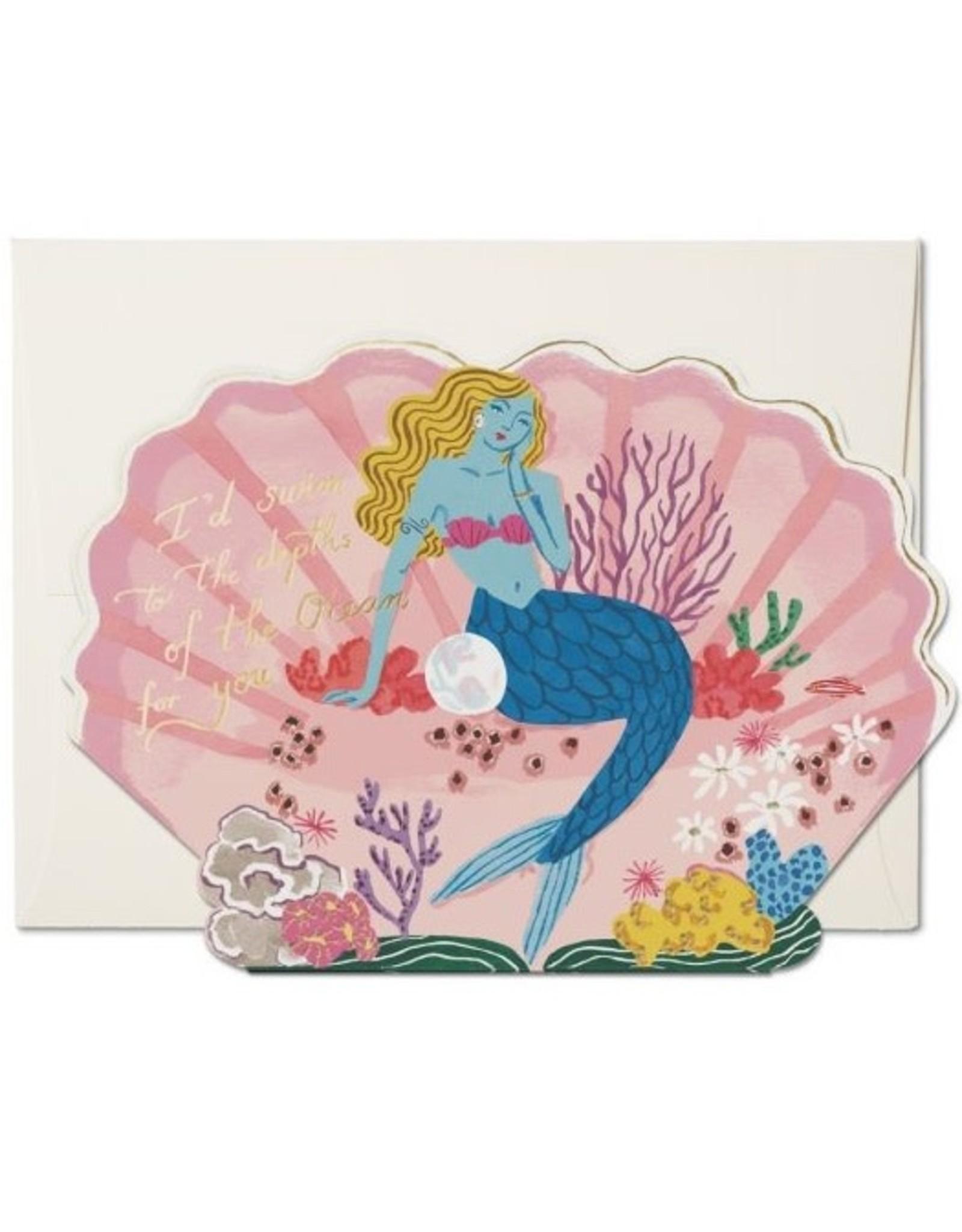 Red Cap Cards Blue Mermaid Die Cut love A7 Notecard