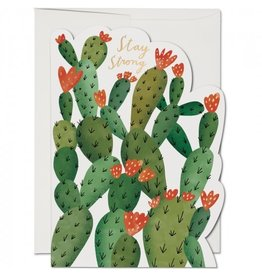 Red Cap Cards Stay Strong Cactus Die Cut Consolation A7 Notecard