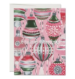 Red Cap Cards Retro Ornaments Christmas A2 Box of 8 Notecards