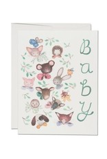 Red Cap Cards Pink Noses Baby A2 Notecard