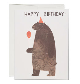 Red Cap Cards Party Bear Birthday A2 Notecard