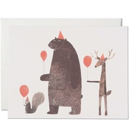 Red Cap Cards Party Animals Birthday A2 Notecard