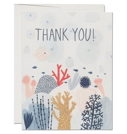 Red Cap Cards Coral Reef Thank You A2 Notecard