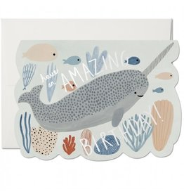 Red Cap Cards Narwhal Birthday Die Cut A7 Notecard